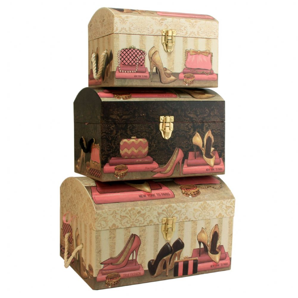Best Set Of 3 Large Pretty Storage Trunks Decorative Bedroom This Month